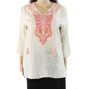 Medium SYMPLE NYC Embroidered Linen Blouse Beige